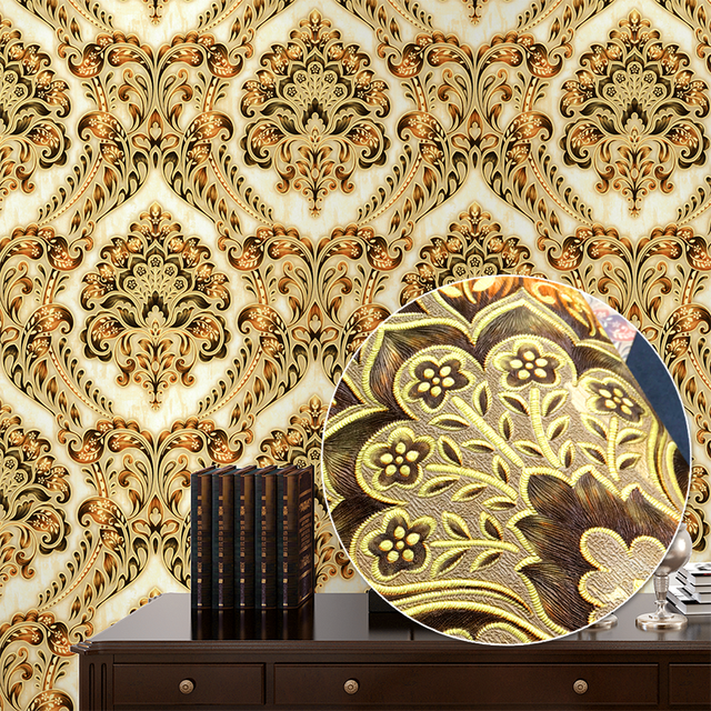 Blue Red Yellow Clic European Damask Wallpaper For Walls Luxury Elegant Stereo Embossed