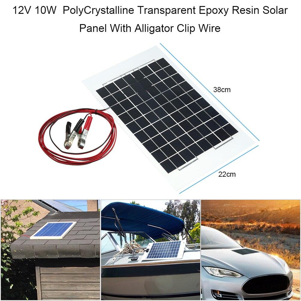 Car-styling 12V 10W 38 X 22 CM PolyCrystalline Transparent Epoxy Resin Solar Panel With Alligator Clip Wire