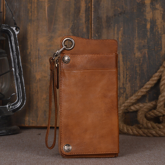 2 Color Original Handmade Genuine Leather Wallet Case For Universl Phone Full Grain Vintage Leather Phone Pouch For iPhone7/6