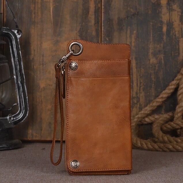 Etui portefeuille en cuir véritable fait main 2 couleurs pour téléphone universel pochette en cuir Vintage pleine fleur pour iPhone7/6