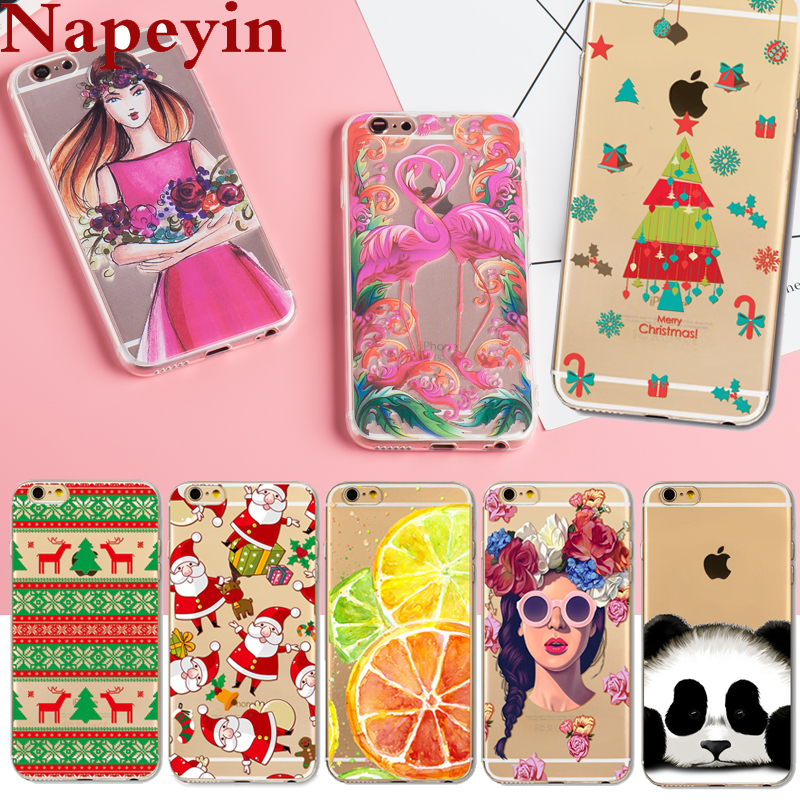 Napeyin Case For Apple iPhone 6 6s 7 8 Plus 5 5S SE Soft Silicon Transparent Christmas Dress Panda Girls Flamingo Phone Cover