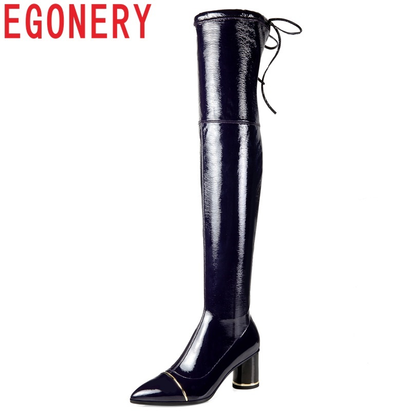 все цены на EGONERY size 34-42 women shoes new fashion sexy pointed toe patent leather high strange style zip winter warm over knee boots