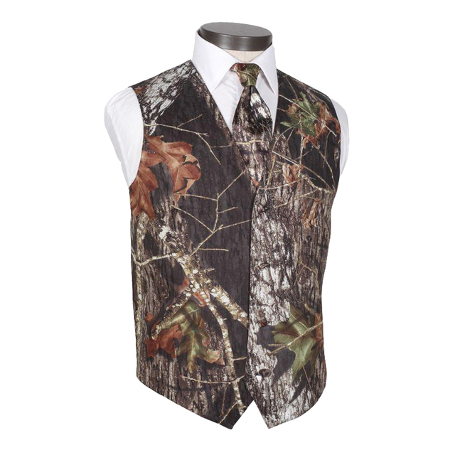 2017 New V Neck Camo Mens Wedding Vests Outerwear Groom Vest Realtree Spring Camouflage Slim Fit Mens Vests(Vest+Tie)