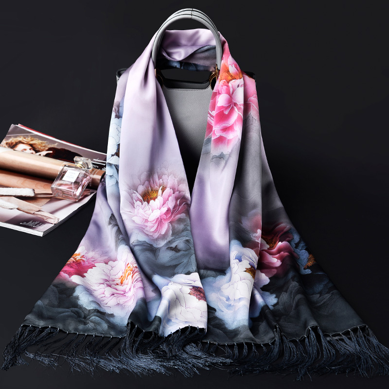 12MU Double Layers 100 Pure Silk Scarf Women Luxury Brand Shawls and Wraps for Ladies Pashimina