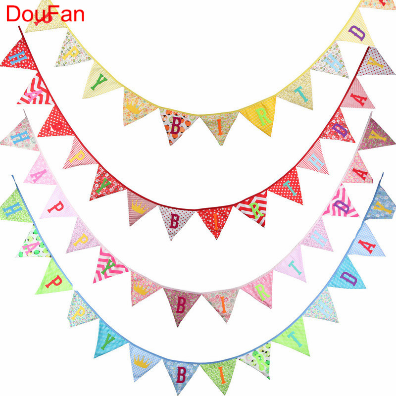 DouFan 1PC HAPPY BIRTHDAY Vintage Cotton Fabric Big Flags