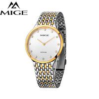 Mige 2017 Топ бренд продажа любовные часы Белый стальной корпус мужские часы водонепроницаемые Regolio masculino Ультратонкие мужские кварцевые наруч