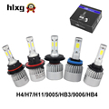 2Pcs H4 LED H7 H11 9005 9006 HB4 COB Chip S2 Auto Car Headlight 72W 8000LM High Low Beam All In One Automobiles Lamp 6500K 12V