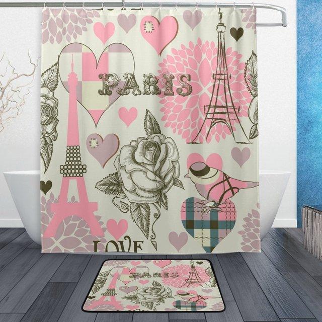 Paris Eiffel Tower Rose Love Waterproof Polyester Fabric Shower Curtain With Hooks Doormat Bath Floor Mat