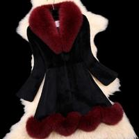 winter women's real genuine natural mink fur coat fox fur collar long style warm outerwear plus size 100% natural fur Neck