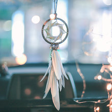 Dream Catcher Car Accessory Interior For Girls Feather Car Mirror Hanging Pendant In Auto Ethnic Home Decor Lucky Car Ornaments(China)