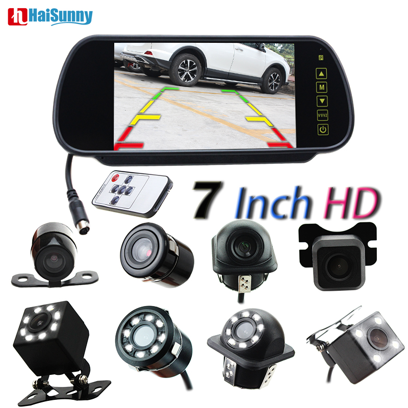 HaiSunny 7 inch Monitor Full Touch Screen Rearview Mirror monitors with Waterproof Upgrade LED Night Vision
