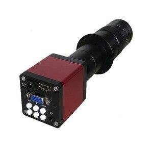 Image 2 - Cámara de microscopio Industrial de 13MP, salida HDMI VGA, lente de montaje en C 180X 300X, grabadora de vídeo de luz LED 56 para soldadura PCB