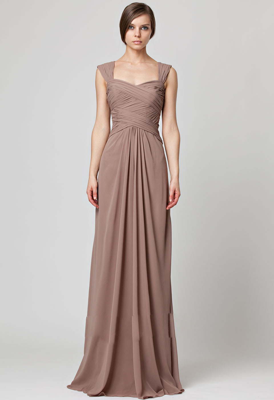Chiffon Cap Sleeves Sheath Ruched Empire Waist Long   Bridesmaids     Dress   450036