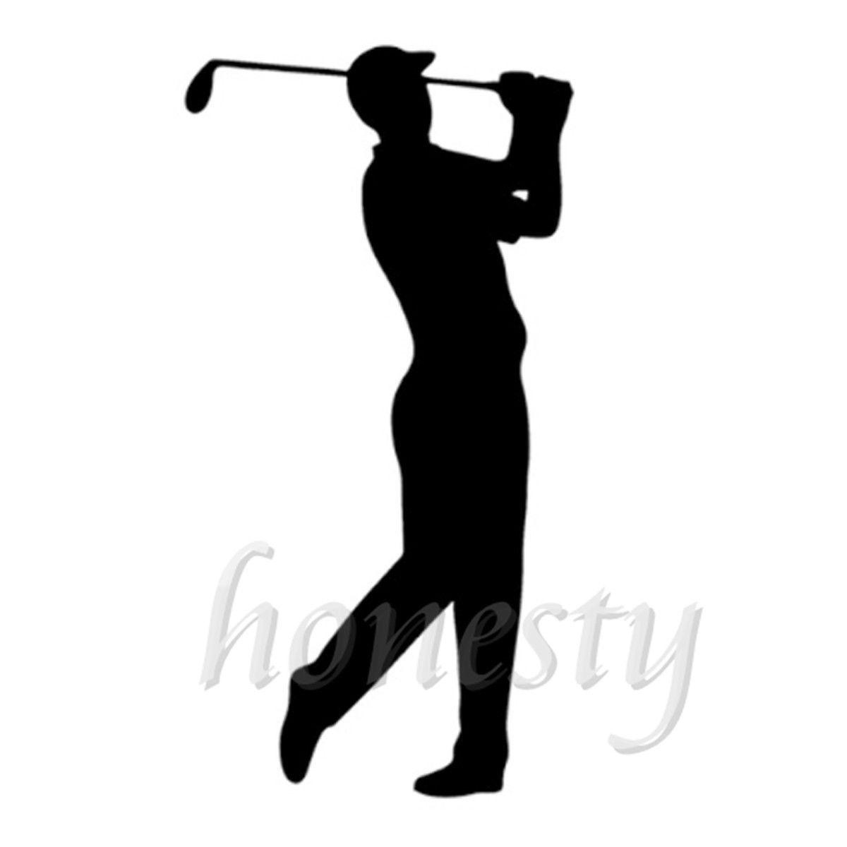 Golf Player Wall Home Glass Window Door Car Sticker Laptop Auto Truck Black Vinyl Decal Sticker Decor Gift 9.1cmX17.3cm