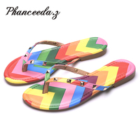 New 2016 Summer Style Shoes Women Sandals Fashion Rivets Flats Top Quality Rainbow Flip Flops Sexy