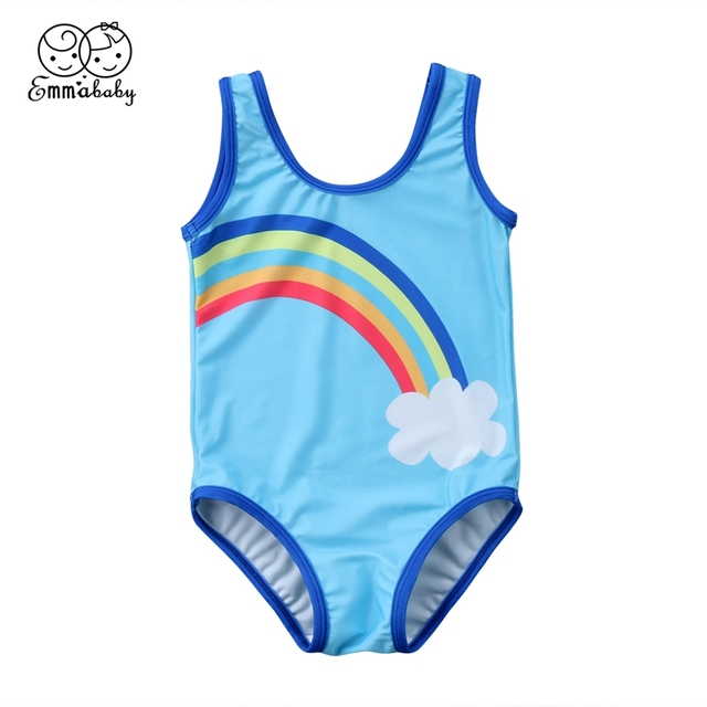 03e679de23 Best Price 2018 Toddler Kids Baby Girls Rainbow Swimwear Print Unisex Beach  One-Piece Suits