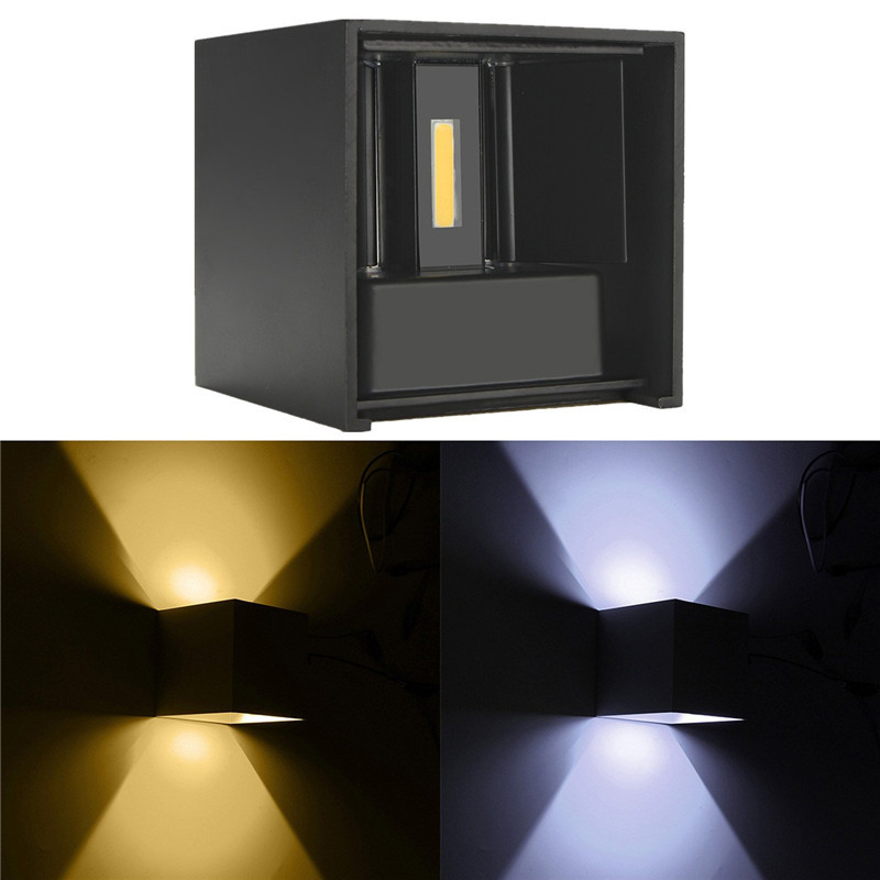 Waterproof Modern Outdoor LED Cube Wall Lamp Up And Down Adjustable Light Angle COB Aluminum AC85 265V 6W Porch In Lamps From