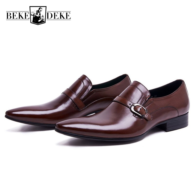 Fashion Genuine Leather Mens Dress Shoes Formal Business Male Shoes Classic Slip On Pointed Toe Block Low Heel Party Footwear