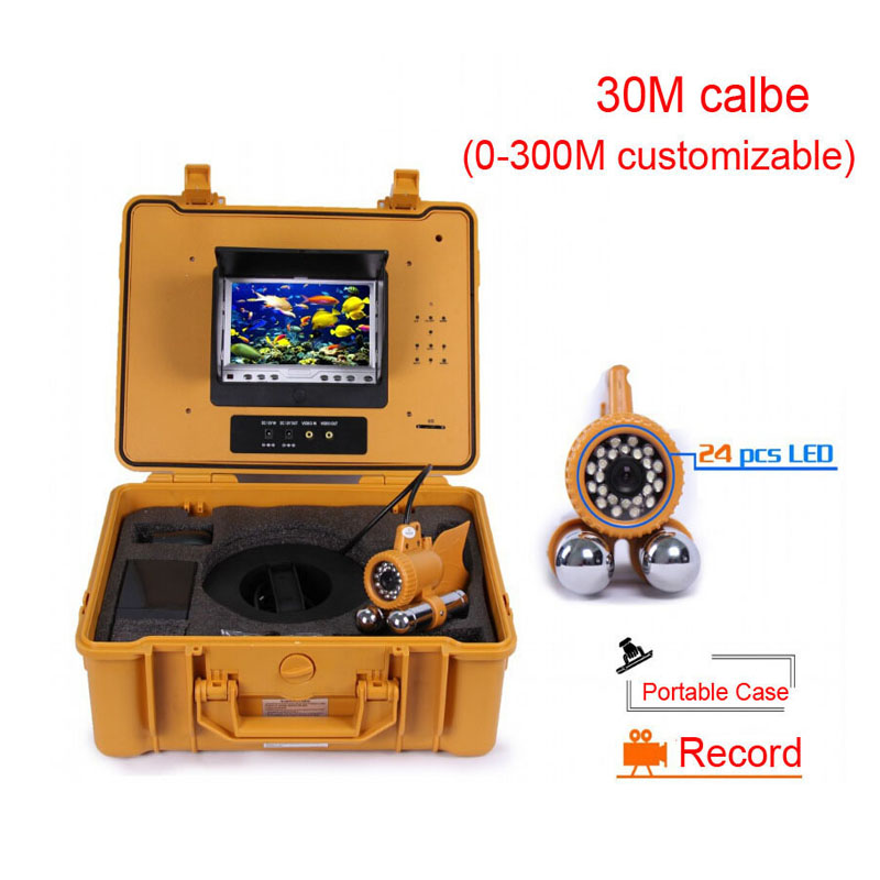 "30m cable 7"" TFT LCD Underwater camera built in DVR fishing camera Kits 1/3 Sony CCD 24 pcs LED lights"