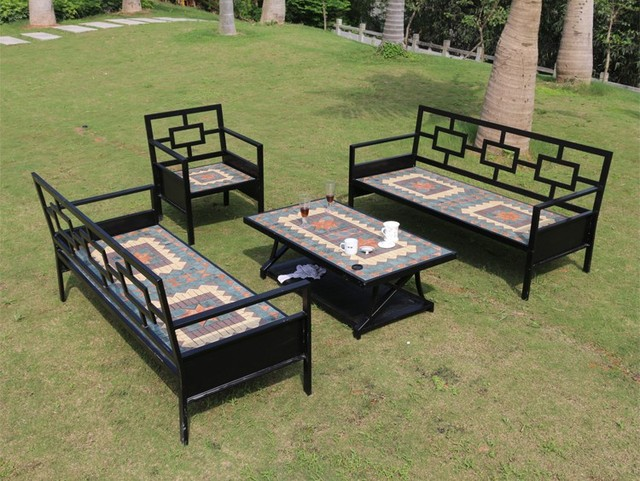 Vintage iron mosaic outdoor patio garden outdoor living room hotel cafe sofa and chairs four - Sofas de hierro para jardin ...