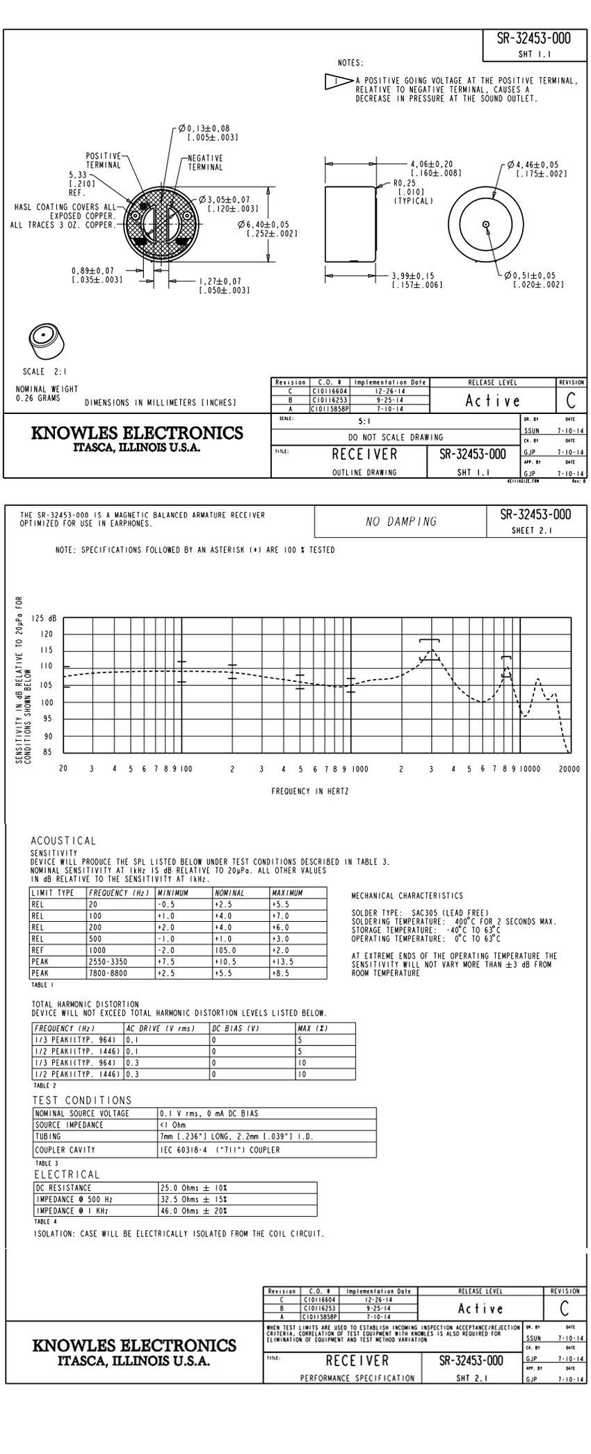 SR-32453-000 Knowles receiver