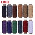 LMDZ 12 Farbe/Set 50m 150D Leder Nähen Gewachste Gewinde Flach Gewachst Nähgarn Wachs linie Nähen Gewinde für Leder Handwerk DIY