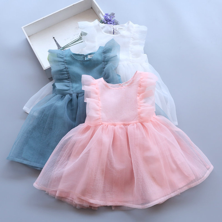 2017 New Toddler Girls Tulle Dresses Pink/Blue/White Pretty Tutu For Girl Baby Summer Dress Sleeveless Princess Party Wear TUTUs new summer toddler kids baby girls floral sleeveless princess dress flower tutu party dresses