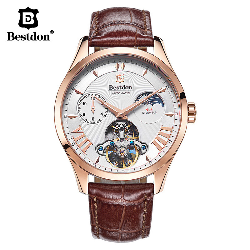 Tourbillon Watches Leather Strap Luxury Brand Bestdon Men Automatic Mechanical Watches Male Moon Phase Watch With Original Box forsining men luxury brand moon phase genuine leather strap watch automatic mechanical wristwatch gift box relogio releges 2016