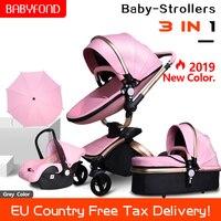 Бесплатная доставка! Babyfond 3 в 1 детская коляска PU двухсторонние амортизаторы Детские автомобильный прицеп тележка Европа ребенок с бесплатн