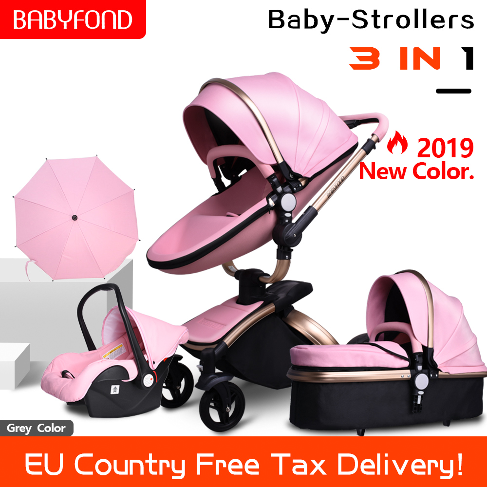 Бесплатная доставка! Babyfond 3 в 1 детская коляска из искусственной кожи с двусторонними амортизаторами, детская тележка для автомобиля, тележка в европейском стиле с бесплатным зонтиком в подарок
