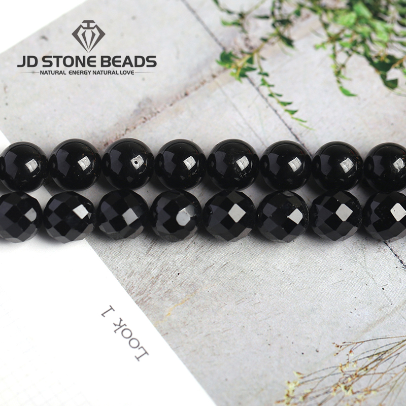 Natrual Round Stone Beads Genuine Black Tourmaline Stone 4/6/8/10/12mm Faceted Gemstone For Jewelry Making Bracelet Necklace