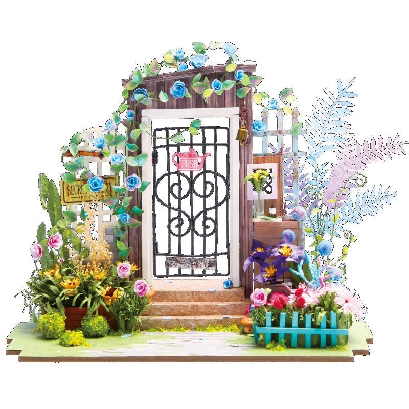 DIY Doll House Miniature With Furniture Art House Creative Handmade Wooden Mini Dollhouse Gift Toys Model Secret Door DGM02 #E