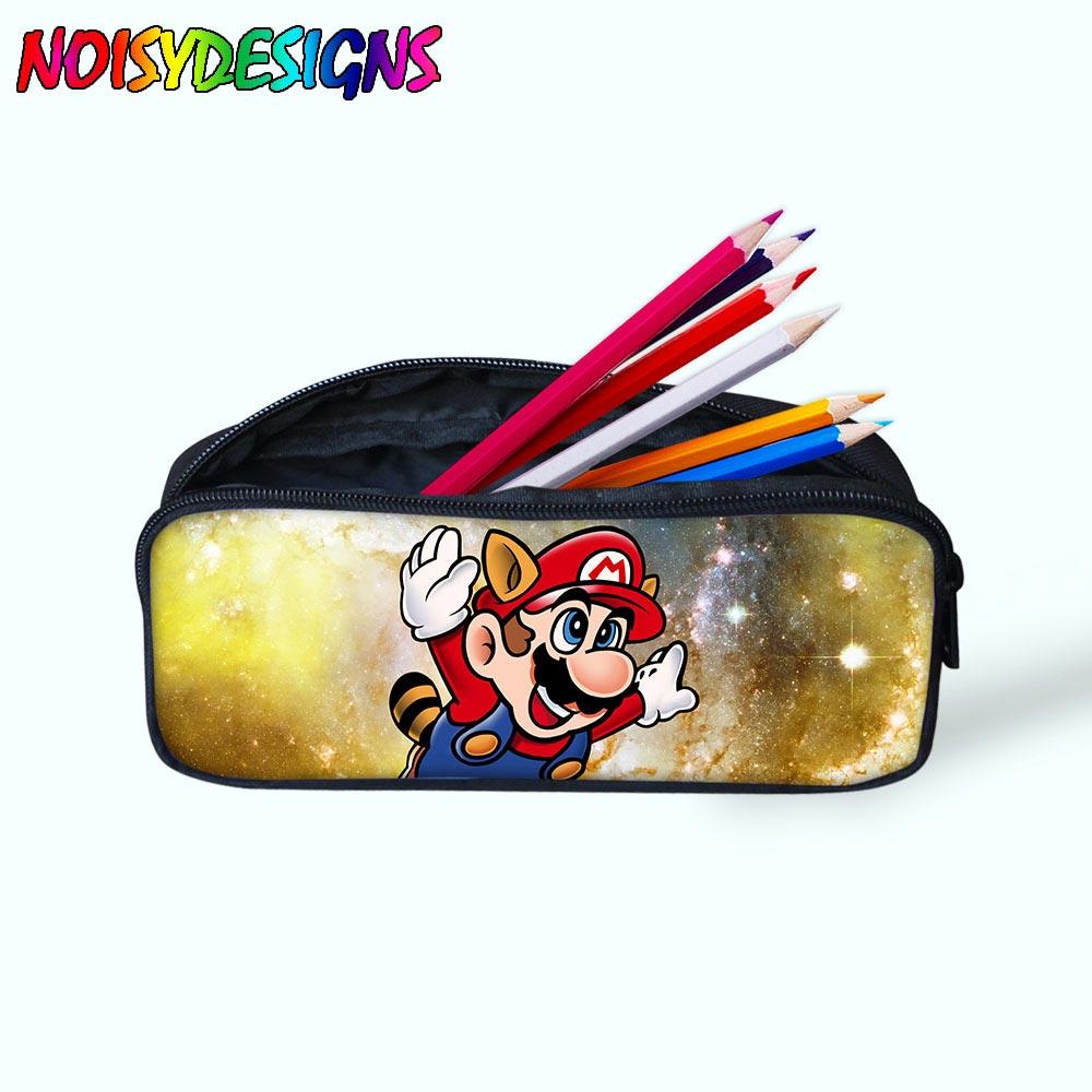 Boy/'s Canvas School Pencil Case Game Super Mario zipper Storage Stationery bags