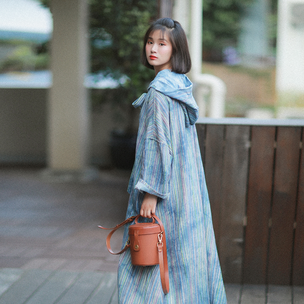 IRINAW761 New Arrival 2018 vintage tie dyed cotton and linen oversize long hooded cloak   trench   coat women