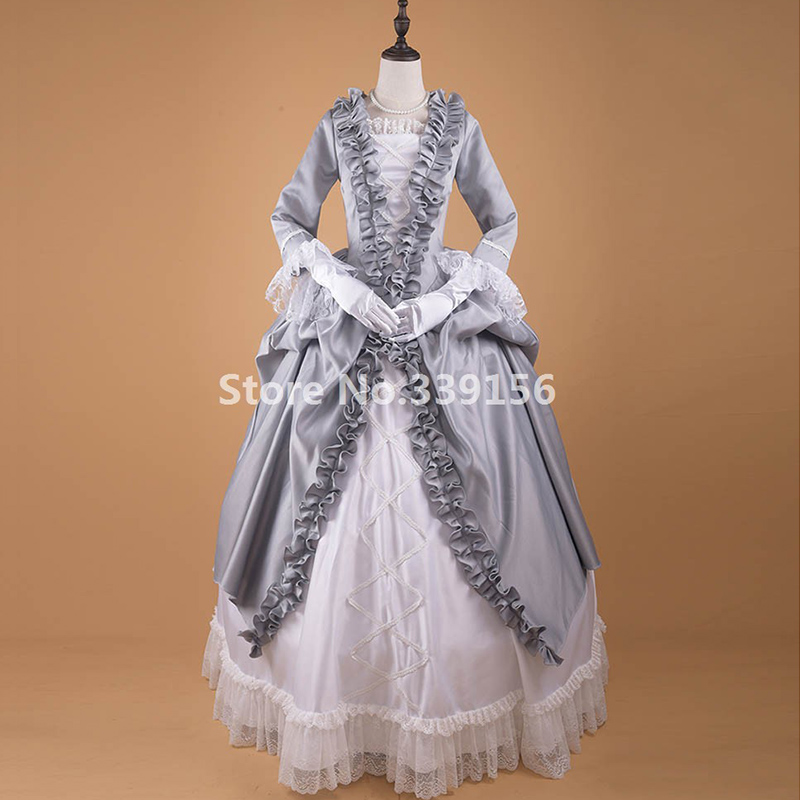 Halloween Civil War Gothic Victorian Masquerade Ball Gown Silver Dresses 18th Century Vintage Festival Carnival Lace Dress