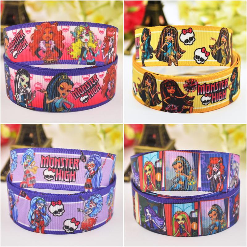 7/8 »(22 мм) monster High 4 стиль смешивается с героями мультфильмов Grosgrain ленты вечерние украшения атласная Ленты m-026