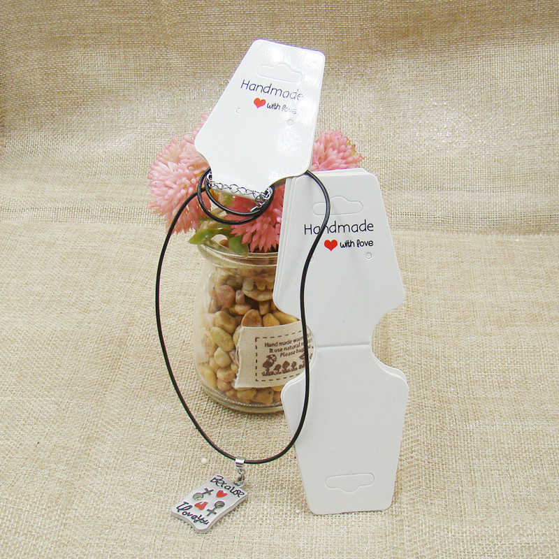 2017 NOVA DIY Feito À Mão Com Amor Branco colar Brinco jóias Display titular do Cartão kraft cartão Personalizado ordem EMO accepet
