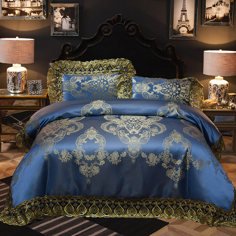 2018 Luxury European Dark Blue Bedding Set Silk Cotton Blend Jacquard King Size Duvet Cover Flat Sheet Bedspread Pillow Cases2018 Luxury European Dark Blue Bedding Set Silk Cotton Blend Jacquard King Size Duvet Cover Flat Sheet Bedspread Pillow Cases