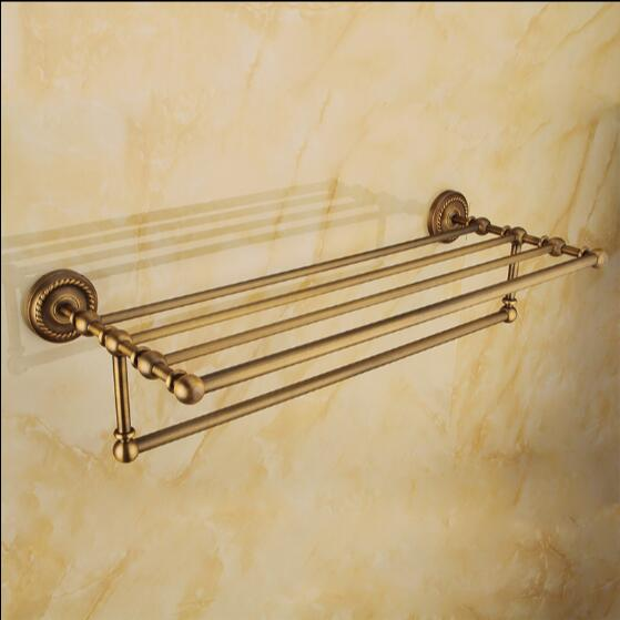 ФОТО New arrival Antique towel rack Brass Material bathroom towel shelf bathroom towel rail luxury bath towel holder