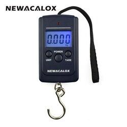 NEWACALOX 40kg x 10g Mini Steelyard Escala para a Pesca de Viagem Bagagem Ponderação Digital Pendurado Escala Gancho Eletrônico
