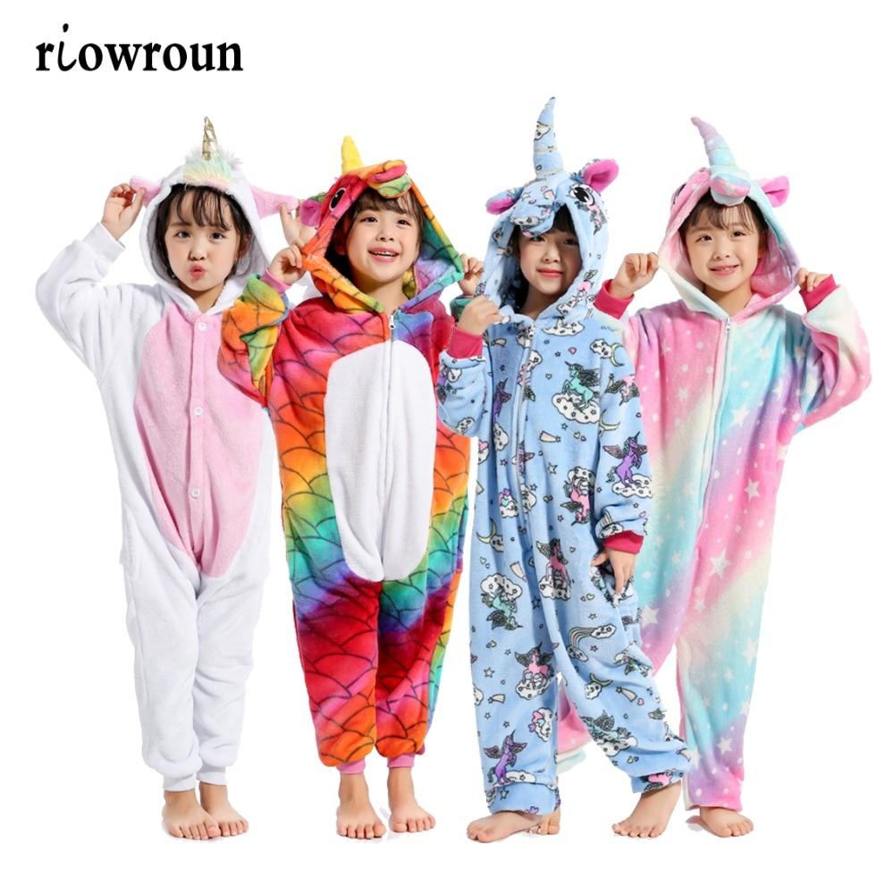Halloween Children Kigurumi Anime Kids Costumes Cosplay Cartoon Animal Sleepwear Stitch Unicorn Pokemon Winter Warm Hooded 2019