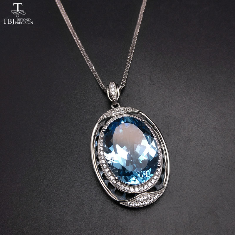 TBJ,Extra Big luxury natural Blue topaz pendant with chains in 925 sterling silver gemstone fine jewelry for women with gift box jd коллекция светло телесный 12 пар носков 15d две кости размер