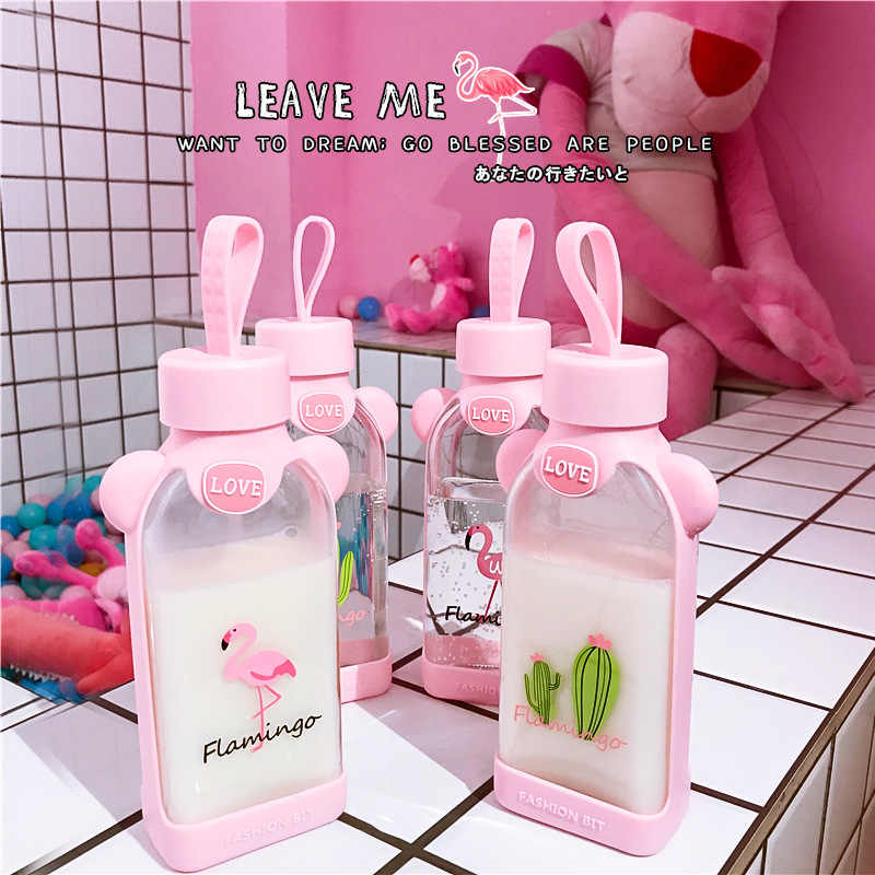 Unique Mini Cute Water bottles Milk Box Shape Transparent Glass Cartoon pink panther Drink Bottle Coffee Beer Drinkware