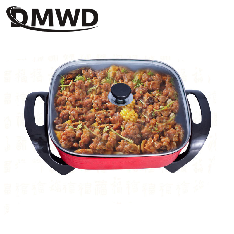 DMWD Multifunction frying Pan Electric roasting Oven Korean heat Stew Soup Hot pot 5L grill Skillets cooking hotpot Food Steamer 1 5l electric cooker multifunction cooking stew pot mini hot pot cooking rice soup cooking noodles