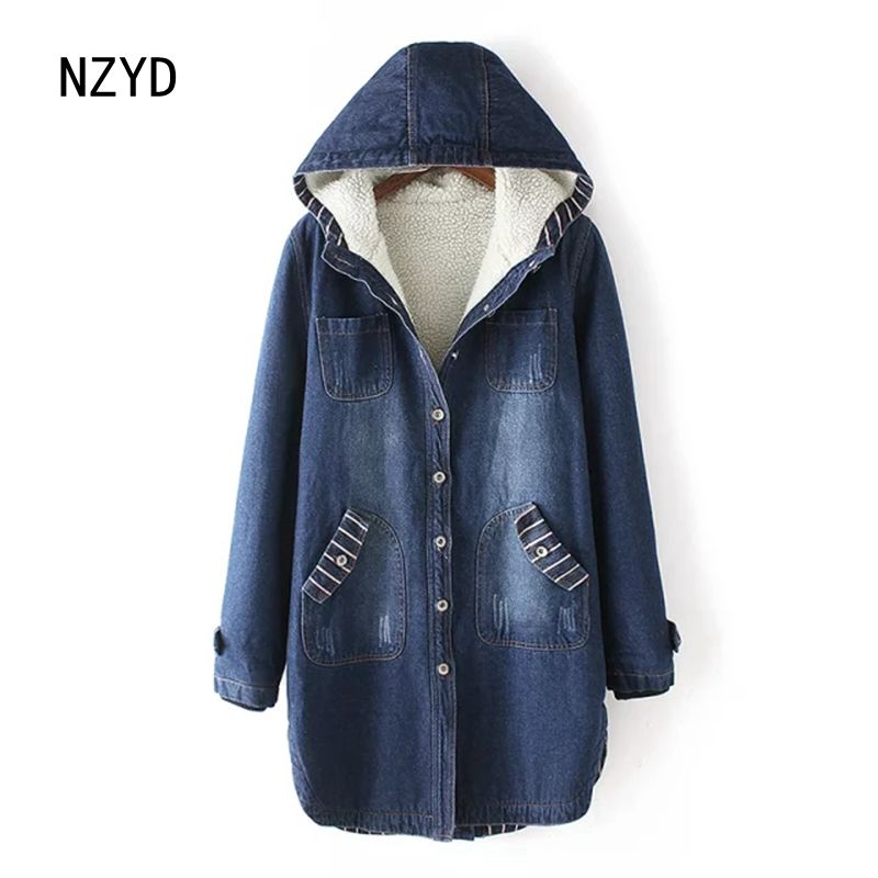 Women Winter Jeans Coat 2017 New Fashion Hooded Warm Medium long Cowboy Jacket Casual Long sleeve Loose Big yards Coat LADIES307 2017 new winter fashion women down jacket hooded thick super warm medium long female coat long sleeve slim big yards parkas nz18