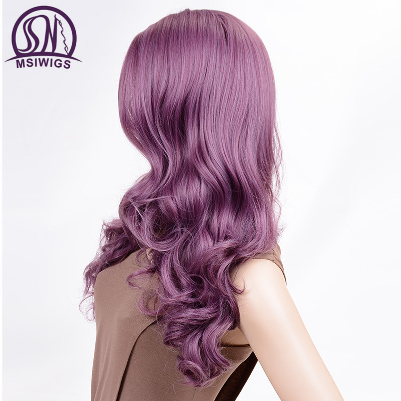 Image 4 - MSIWIGS Wavy Wigs Purple Hair Long Synthetic Wig for Women Side Parting Cosplay Hair Wig High Temperature FiberSynthetic None-Lace  Wigs   -