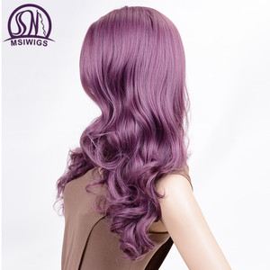Image 4 - MSIWIGS Wavy Wigs Purple Hair Long Synthetic Wig for Women Side Parting Cosplay Hair Wig High Temperature Fiber