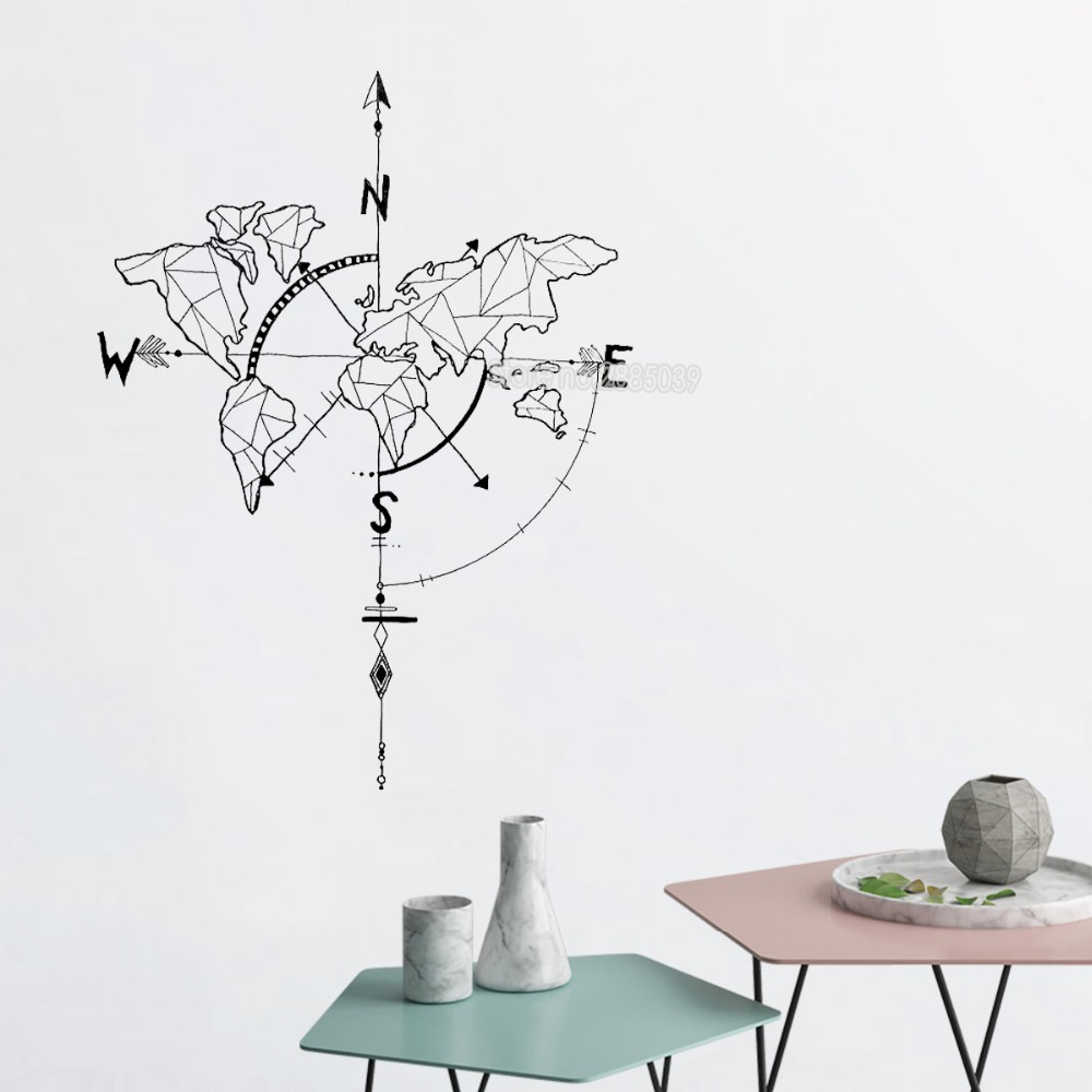 Hot Sale Abstract World Map Compass Wall Stickers Bedroom Living