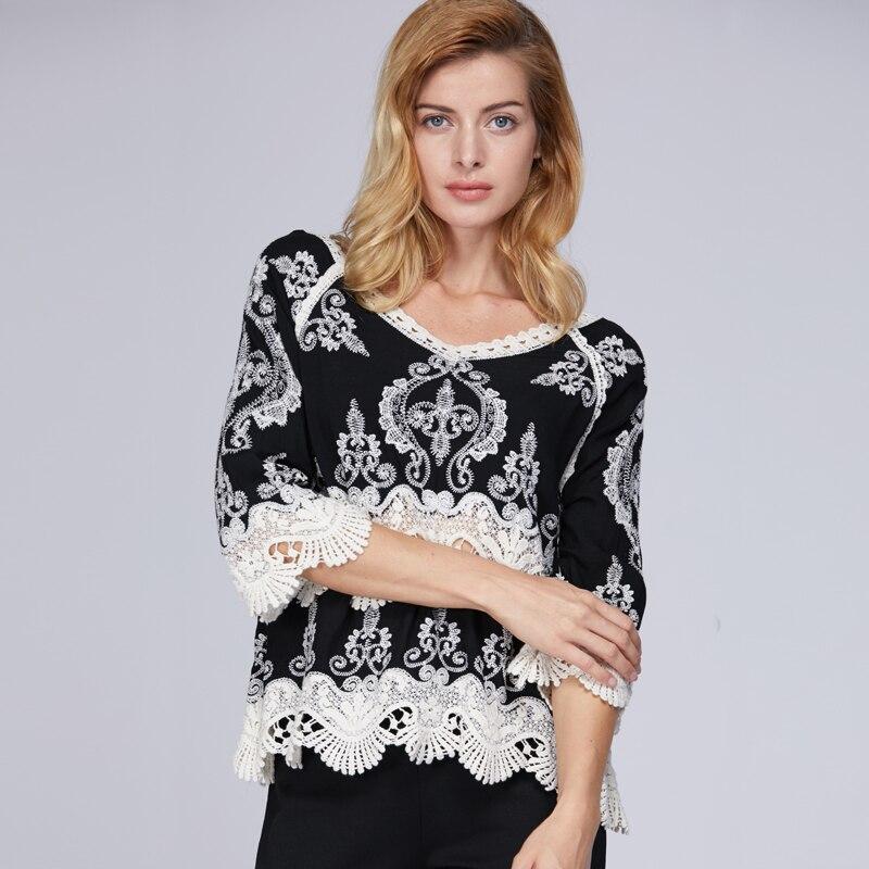 New-casual-preto-sexy-hoolow-rendas-camisa-blusa-mulheres-tops-e-blusas-da-moda-2018-top