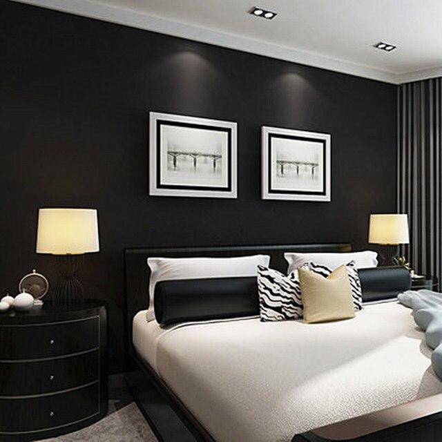 Moderne Zwart Behang 3D Stro Textuur PVC Behang Woonkamer Slaapkamer ...